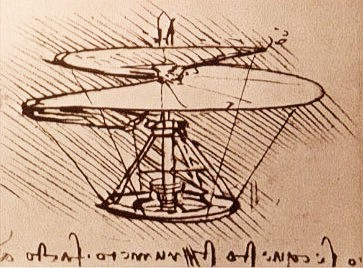 Leonardo Da Vinci aerial screw flying machine design sketch