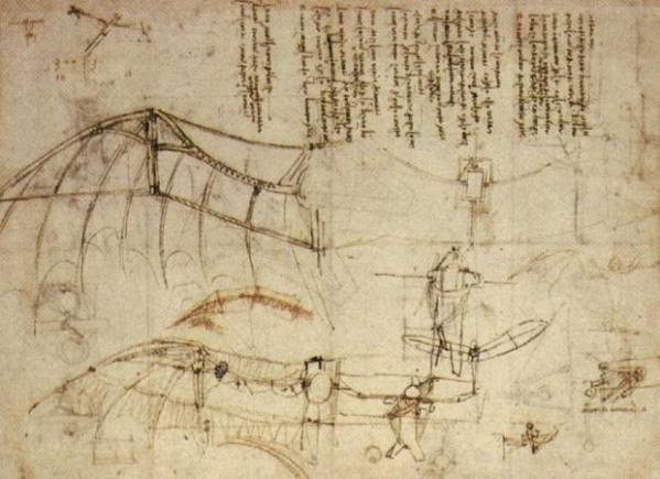 Leonardo Da Vinci Ornithopter flying machine design sketches