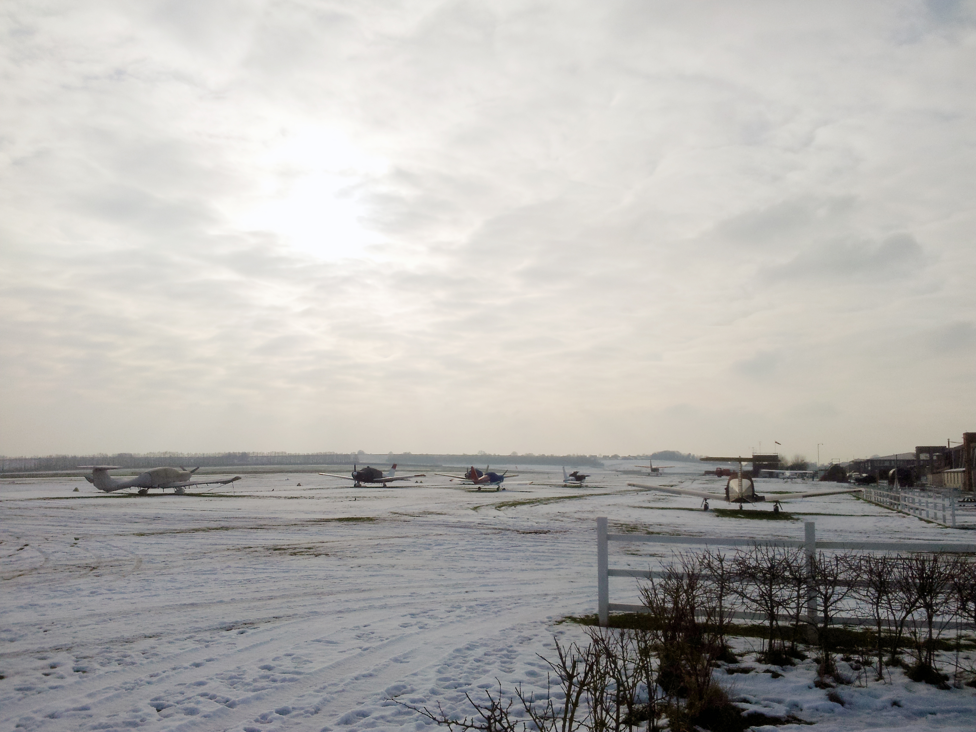 Snow covered airfield